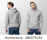 heather grey hoodie on a young... | Shutterstock . vector #680273155
