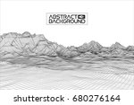 abstract wireframe landscape... | Shutterstock . vector #680276164
