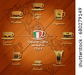 types of coffee served in italy.... | Shutterstock .eps vector #680279149