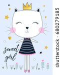 Sweet Cat Girl Illustration...