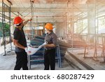 engineer discussing with... | Shutterstock . vector #680287429