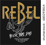 rebel rock illustration with... | Shutterstock .eps vector #680295814