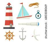 set of flat cartoon nautical... | Shutterstock .eps vector #680308069