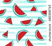 water melon seamless pattern... | Shutterstock .eps vector #680308765