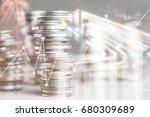 double exposure of stacked of... | Shutterstock . vector #680309689