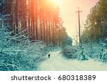 Snowy Forest In Winter At...