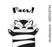 illustration with joyful cat...   Shutterstock .eps vector #680318761
