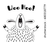 illustration with joyful sheep...