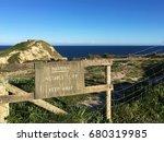 Warning Sign On The Coastal...