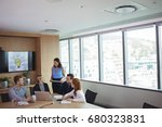 business people discussing in... | Shutterstock . vector #680323831