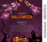happy halloween design elements.... | Shutterstock .eps vector #680325211