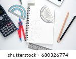 stationery maths on white... | Shutterstock . vector #680326774