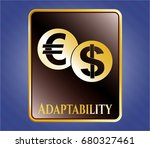 gold shiny badge with currency ... | Shutterstock .eps vector #680327461