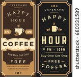 happy hour. free coffee flyer....
