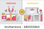comparison between inbound and... | Shutterstock .eps vector #680332864