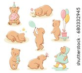 cute little bear characters set.... | Shutterstock .eps vector #680332945