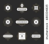 luxury logos templates set ... | Shutterstock .eps vector #680334835