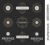 luxury logos templates set ... | Shutterstock .eps vector #680334844