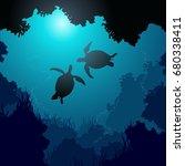 square illustration of turtles... | Shutterstock .eps vector #680338411