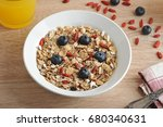 healthy breakfast   goji... | Shutterstock . vector #680340631