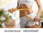 woman with measure. | Shutterstock . vector #680340685