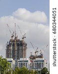 two buildings one multistory... | Shutterstock . vector #680344051