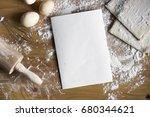 baking ingredients. bowl  eggs  ... | Shutterstock . vector #680344621