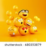 3d illustration. emojis icons... | Shutterstock . vector #680353879