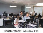 business colleagues discussing... | Shutterstock . vector #680362141