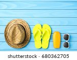 beach or summer accessories on... | Shutterstock . vector #680362705