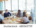 high angle view of business...   Shutterstock . vector #680365759