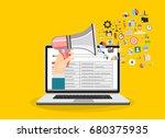 hand holding megaphone coming... | Shutterstock .eps vector #680375935