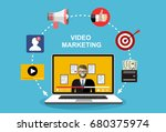 video marketing concept.... | Shutterstock .eps vector #680375974