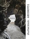 sea cave with motion blur water ... | Shutterstock . vector #680380951