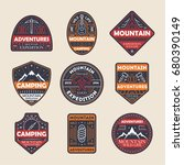 mountain adventures vintage... | Shutterstock .eps vector #680390149