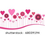 flowers and hearts in pink   Shutterstock .eps vector #68039194