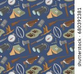 seamless pattern with hunting... | Shutterstock .eps vector #680392381