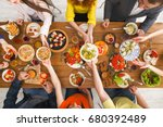 served table top view  dinner.... | Shutterstock . vector #680392489