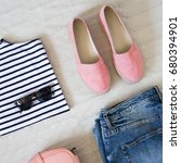 flat lay women fashion. trendy... | Shutterstock . vector #680394901