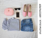 perfect summer outfit... | Shutterstock . vector #680396989