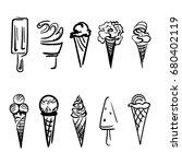 set of ice cream. vector. | Shutterstock .eps vector #680402119