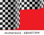 checkered flag wave on red...   Shutterstock .eps vector #680407399
