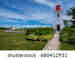 victoria lighthouse with dinghy ...   Shutterstock . vector #680412931