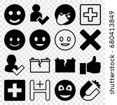 positive icons set. set of 16... | Shutterstock .eps vector #680413849