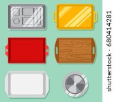 empty food tray set  plastic ... | Shutterstock .eps vector #680414281
