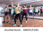 cheerful ordinary adults... | Shutterstock . vector #680415181
