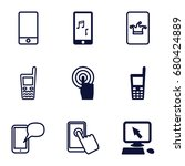 touchscreen icons set. set of 9 ... | Shutterstock .eps vector #680424889