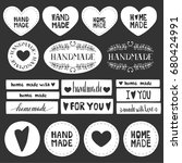 handmade labels. made with love ... | Shutterstock .eps vector #680424991