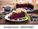 blueberry pie on the plate | Shutterstock . vector #680425867