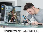 assembling the electronic wiring | Shutterstock . vector #680431147